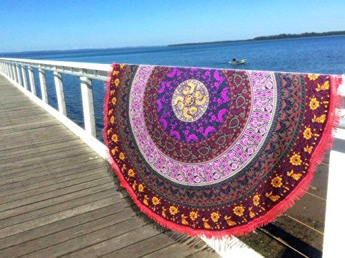 Aakriti Gallery Telo mare, tovaglia, scialle in cotone, rotondo, motivo indiano, con mandala, stile hippy, boemo, zingaro, per la spiaggia, lo yoga, il pic-nic, da 182,9cm Dark Purple