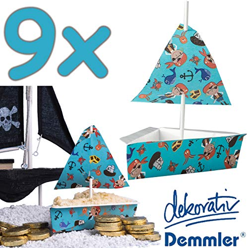 * Piratenschiff * als Deko für Kindergeburtstag und Piraten-Mottoparty | mit Tortenstück-Backform + Segel + Cake Pop Sticks | Dekor Torte Backformen ()