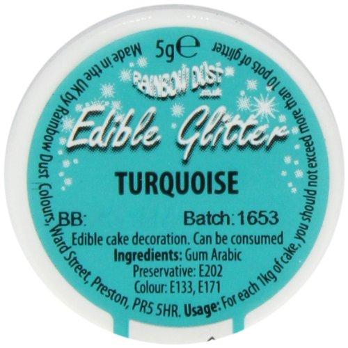 Rainbow Dust Glitzerpulver essbar, türkis, 1er Pack (1 x 5 g)