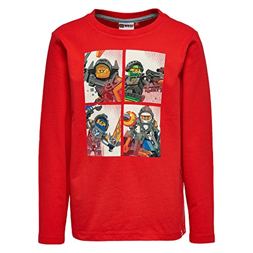 Lego Wear Legowear Boys Lego Nexo Knight Tony 808 L/S T-Shirt, Red, 6 Years