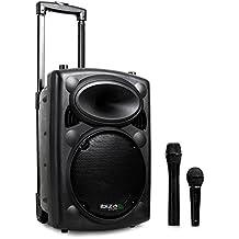Ibiza Port8VHF-BT Sistema Audio PA Portatile Con Subwoofer E Bluetooth (400 Watt, Ingressi USB SD MP3 Con Funzione Recording, 2 Microfoni, Batteria Integrata, Telecomando) - Nero
