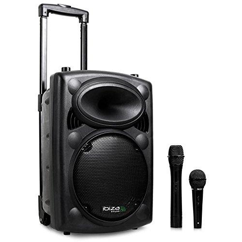 Ibiza Port8VHF-BT Altavoz PA móvil Bluetooth con micrófonos y soporte (puerto USB...