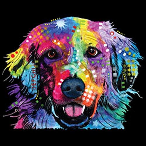 Lady Shirt Neon Golden Retriever Shirt 4 Heroines Girlie T-Shirt Hund Geburtstag Geschenk geil bedruckt Schwarz