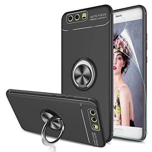 LeYi Custodia Huawei P10 Plus Cover con HD Pellicola,Bumper TPU Case con Girevole Regolabile 360 Magnetica con Supporto Smartphone Silicone Custodie per Huawei P10 Plus Case JSZH Nero