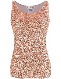 6707f5fa2ee Anna-Kaci Womens Sparkle   Shine Glitter Sequin Embellished Sleeveless  Round Neck Tank Top