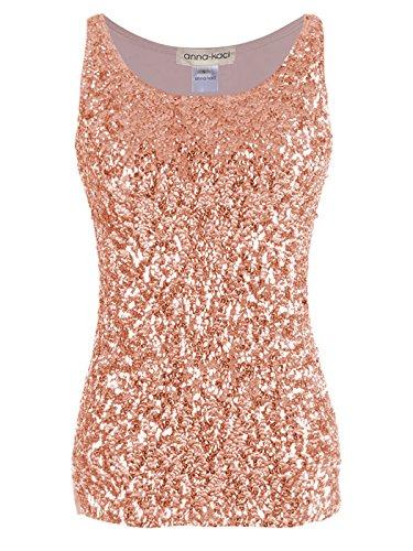 Anna-Kaci–Brillo & Shine Glitter Adornada con Lentejuelas sin Mangas Cuello Redondo Camiseta de Tirantes - Dorado -