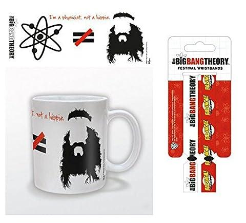 Set: The Big Bang Theory, Je Suis Physicien Pas Hippie, Équasion Tasse À Café Mug (9x8 cm) Et 1 The Big Bang Theory, Bracelet (10x2 cm)
