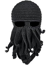 Vbiger Unisex Máscara Sombrero de Punto Sombrero Tejido a Mano de Ganchillo Beanie Barba Bigote de Otoño e Invierno Sombrero Caliente Creativo Gorros de esquí