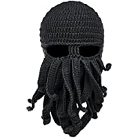Vbiger Tentacle Octopus Cthulhu Knit Beanie Windproof Beard Ski Mask Hat