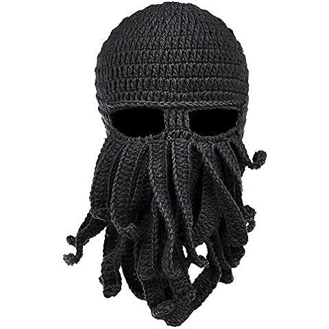 Vbiger Unisex Máscara Sombrero de Punto Sombrero Tejido a Mano de Ganchillo Beanie Barba Bigote de Otoño e Invierno Sombrero Caliente Creativo Gorros de