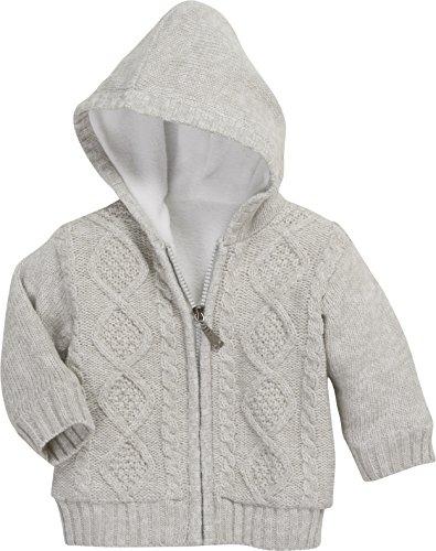 Schnizler Unisex Baby Jacke mit Zopfmuster, Fleece gefüttert Strickjacke, (Grau 33), 80 - Baby Jacke Mädchen Kapuzen