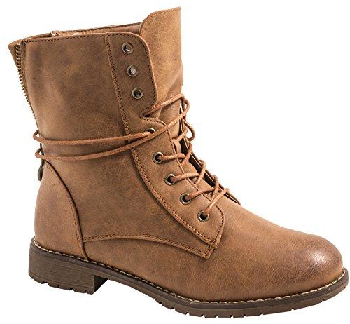 Elara Damen Stiefeletten | Bequeme Biker Boots | Lederoptik Schnürstiefeletten KA16-22SL-Braun-42