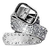 CASPAR Damen Gürtel/Hüftgürtel mit glitzernder Strass Kristall Nieten Teil Leder - viele Farben - GU260, Länge:80;Farbe:silber metallic