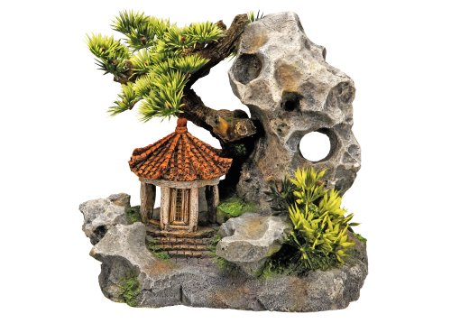 "Nobby Aqua Ornaments \""TEMPEL AN KLIPPE\"" mit Pflanzen  19 x 13 x 17,2 cm"