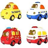 SainSmart Jr. 4 Conjunto Push and Go Mini coches, Fricción, Botón De La Pantalla De Luz Y Música, Coche De Policía, Coche De Bomberos, Ambulancia, Taxi