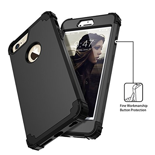 WE LOVE CASE iPhone 6 / 6s Hülle iPhone 6 6s Schutzhülle Handyhülle 3 in 1 Im Rose Gold Innen TPU Silikon Muster Handytasche Handycover PC Harte Case Anti-Scratch Handy Tasche Schale Schlank Backcover Schwarz