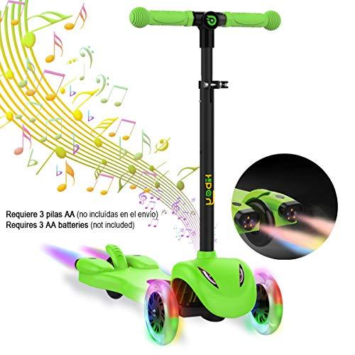 Hiboy S51 Scooter Kinder mit LED Räder, Musik, Dampf für +3 Jahren,Ideal für Outdoor-Spiel für Kinder, Grün