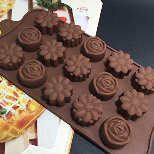 Silikonform, BZLine® 15-Cavity Silikon Blume Rose Schokoladen-Kuchen-Seifen-Form (Blumen-seife)