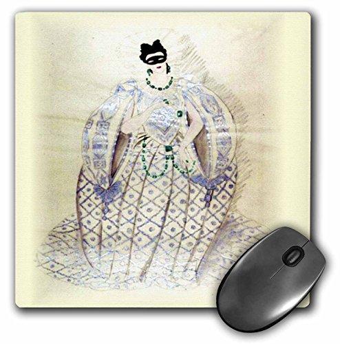 3dRose LLC Mauspad, 20,3 x 20,3 x 0,63,5 cm, Vintage Mardi Gras Kostüm (mp_43853_1) (Mardis Gras Kostüm)