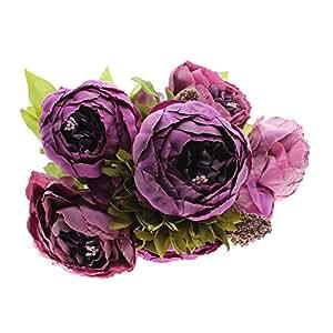 Mariée mariage Festival de Noël Décoration Fleurs Artificielles Pivoine Soie bouquet Violet