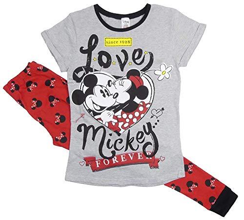 Dames 100% Produit Officiel 100% Cotton Manche Courte Col Rond 2 Pièces PJ Pyjama Ensemble, Divers Dessin Animé Personnages - Minnie Mouse Long (Minnie Forever), Size 12-14