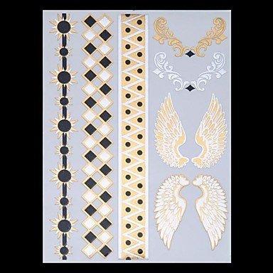 HJLWST® 9pcs modello misto tatuaggi metallici temporaneo tatuaggi partito oro tatuaggi lampo tatuaggi piuma dell'ala (Diamante Dell'elefante Collana)