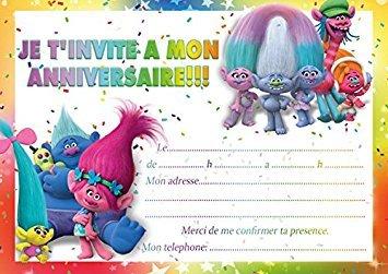 10 CARTES INVITATION ANNIVERSAIRE TROLLS in French (avec des enveloppes roses)
