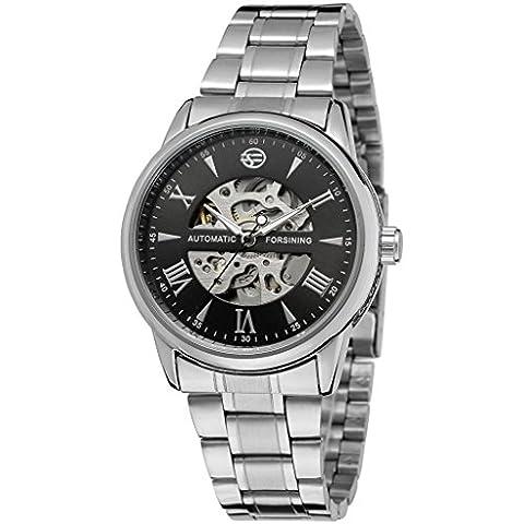 downj da uomo Classico, Acciaio Inossidabile Scheletro Nero bracciale orologio automatico