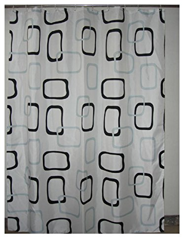 YYH Schwarze und graue Quadrate einfache Messing Knöpfe aus Polyester wasserdicht gepolstert den Leitung Linie Duschvorhang , 200*220
