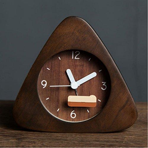 MIWENReloj de Alarma de Madera nórdica Mute Estudiante Creativo Reloj Lindo Moda Dormitorio Minimalista Reloj de la Personalidad Luminosa