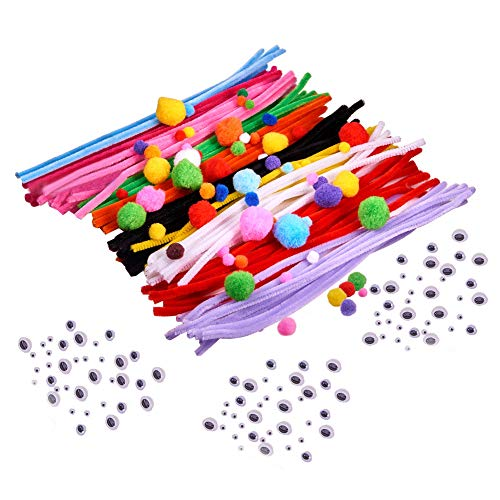 PandaHall Elite Pompoms Pipe Cleaners and Wiggle Googly Eyes for DIY Crafts Art Decorations Mixed...
