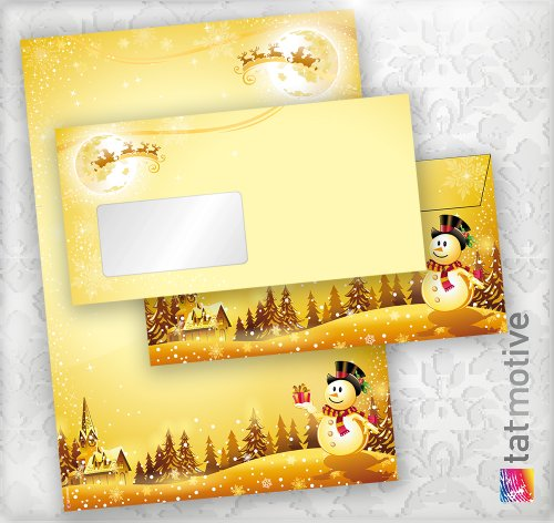 Briefpapier Set Schneemann (100 Sets mit Fenster) DIN A4 297 x 210mm 90 g/qm, Weihnachtsbriefpapier mit Umschläge