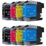 8 komp. Druckerpatronen mit Chip für Brother MFC J245 J470DW J650DW J870DW J4410DW J4510DW J4610DW J4710DW J6520DW J6720DW J6920DW Brother DCP J132W J123WG1 J152W J552DW J752DW J4110DW 2 x schwarz 2 x blau 2 x rot 2 x gelb