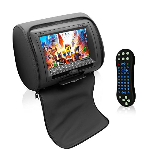 Pyle 2017 Upgraded HD Car Headrest DVD Player Monitor Display Widescreen/ Remote Control, USB / SD Reader, FM IR Transmitter (Black, 7-inch)