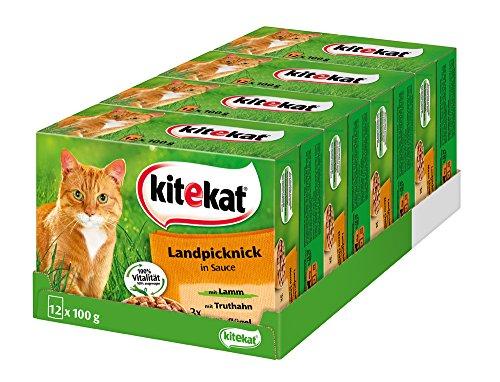 Kitekat Katzenfutter Nassfutter Landpicknick in Sauce, 48 Portionsbeutel (4 x 12 x 100g)