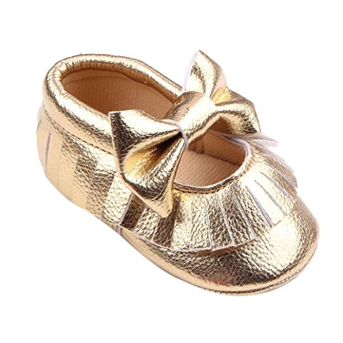 Tefamore Baby Girl Krippe Bowknot Schuhe Casual Schuhe Gold