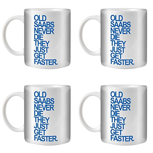 STUFF4 Tee/Kaffee Becher 350ml/4 Pack Saab/Blue Text/Alte Autos/Weißkeramik/ST10