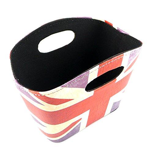 kirinstores Union Jack Design Aufbewahrungskorb PU Leder Magazin Zeitung Korb British Style Schreibtisch Organisatoren, A (Leder-magazine Korb)
