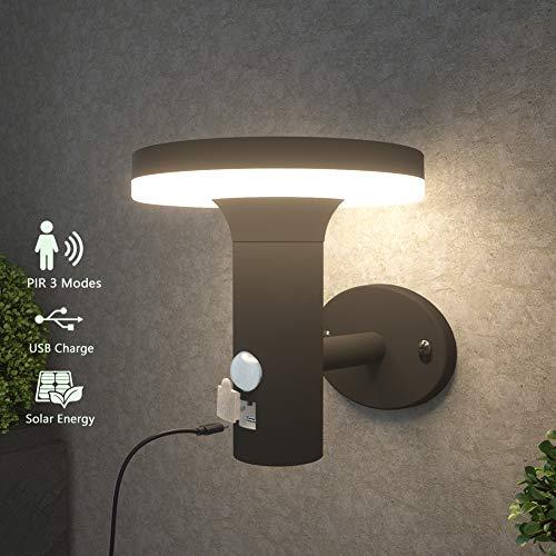 NBHANYUAN Lighting® LED Solar Außenwandleuchten mit Bewegungsmelder Solarleuchte USB Wiederaufladbar 3 Modi in dimmbarem Schwarz Edelstahl für Garten Terrasse Beleuchtung 4000K Warmweiß Licht IP44