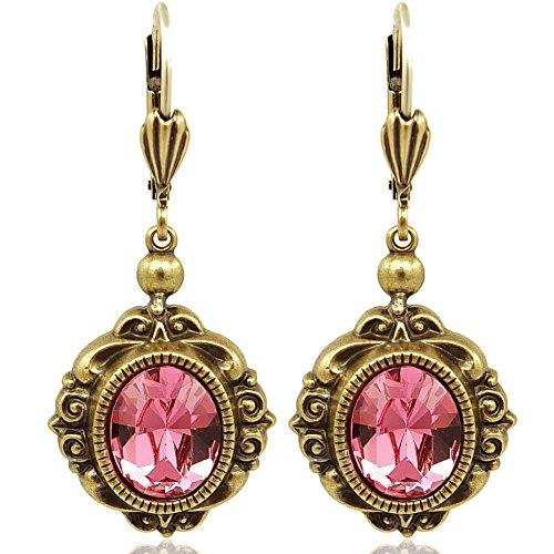 Vintage Ohrringe mit Kristallen von Swarovski® Gold Rosa NOBEL SCHMUCK