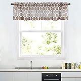 LinTimes Motivo Geometrico mantovana per Bagno, Design Marocchino Tende mantovana per finestre, Asta da Cucina Tenda mantovana Tende da caffè, 56'x 15', Tortora/Marrone, Un Pannello