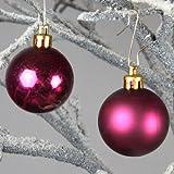 Christbaumkugeln Weihnachtskugeln Dekokugeln 4 cm bordeaux 48 Stk. glänzend matt