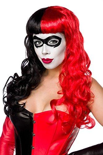 Schwarz rote Damen Harlekin Perücke Wig mit Zopfklammern und Pony