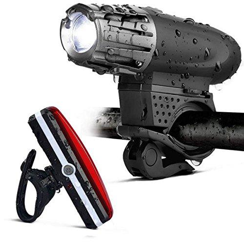 MUTANG LED-Fahrrad-Licht-Satz-Fahrrad-Scheinwerfer USB aufladbare Nachtfahrt-Beleuchtungs-Ausrüstung Ultralight Searchlight, Rücklicht-Warnlichter