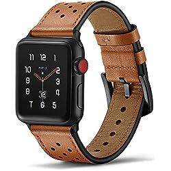 Tasikar pour Bracelet Apple Watch 42mm 44mm Premium Cuir de Véritable Band Compatible avec Apple Watch Séries 5 Séries 4 (44mm) Séries 3 Séries 2 Séries 1 (42mm) - Marron