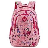 Zmsdt Kinder Rucksack Sweetheart Muster Kinder Schmetterling Tasche Outdoor-Reise Grundschule Leichte Rucksack (Farbe : Pink)