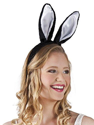 Confettery - Hasen Ohren Hut Haarreif Bunny 4Stk., (Schwarzes Kostüm Schaf Hut)