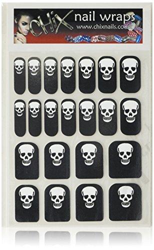 Hennen Nägel gelegentlichen Minx schicken Stil Gothic Halloween Finger Zehen Vinyl Folien Nail Wraps, silber Totenkopf Print