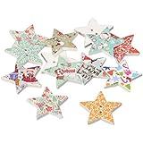 Pandahall Precio del 100 Piezas 2 agujero tema de la Navidad impreso madera coser botones estrella para la Navidad, color mezclado, 25x25x3 mm, agujero: 2 mm