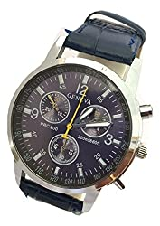 Geneva Leather Analogue Watch For Men- Blue